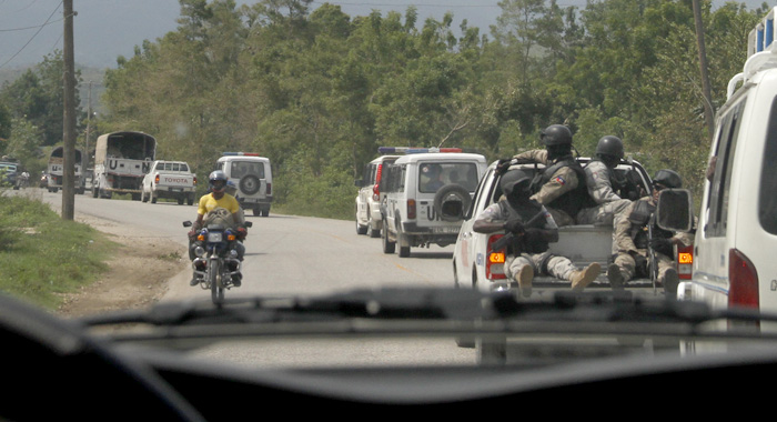 Haitian Soldiers Provide Security For Un Convoy Traveling From Port Au Prince To The South Of Haiti On Sunday. (Photo: Cmc/Iwn)