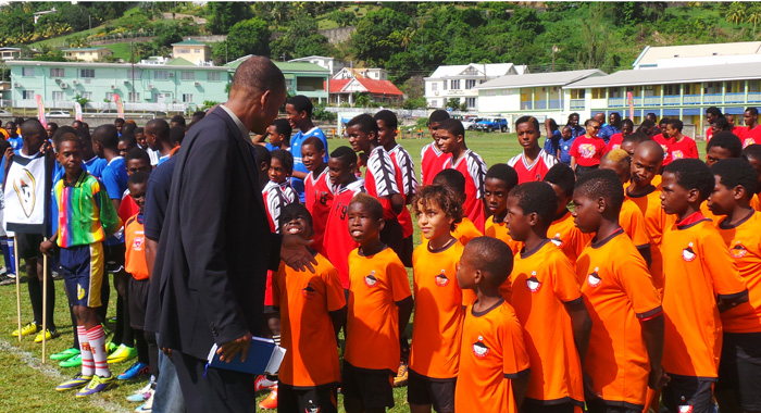 Svgff President Venold Coombs Greeting Young Fooballers.