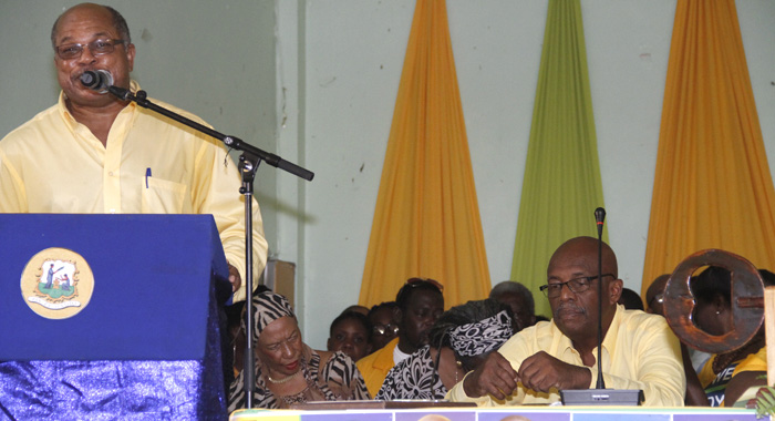 East Kingstown Mp, Arnhim Eustace, Left, Reacts To Lewis Speech Ahead Of Sunday'S Vote To Choose Eustace'S Successor. (Iwn Photo)