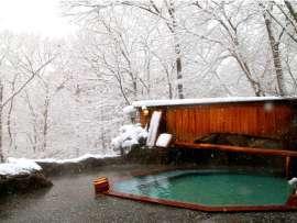 雪化粧の露天風呂