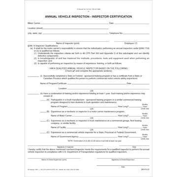 Annual Vehicle Inspection Inspector Certification Form 285fsc2