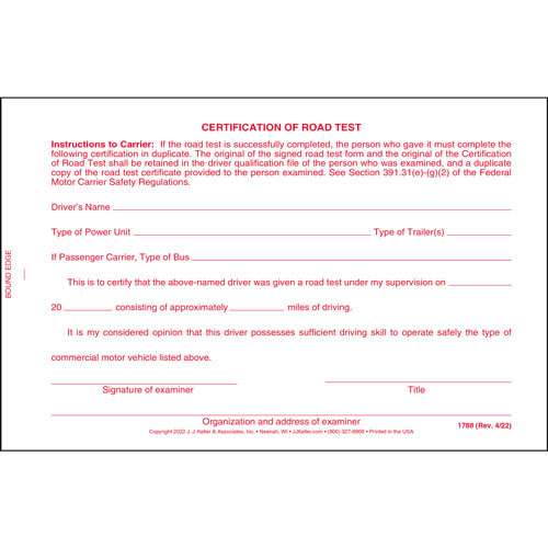 Certification Of Road Test Form With Wallet Card