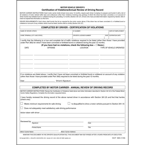 Certification Of Violations Annual Review Of Driving Record