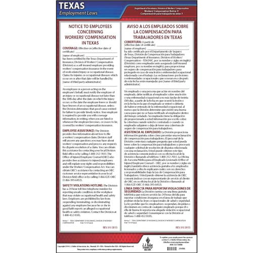 texas notice 7 workers compensation coverage certified self insurance poster