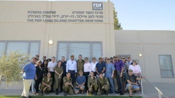 Mariano Rivera and the interfaith group visiting Israel, at the Michve Alon IDF base, in front of the Fitness Center donated by the FIDF Long Island Chapter, on July 31. Credit: Nir Buxenbaum Photography.