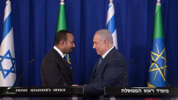Israeli Prime Minister Benjamin Netanyahu and Ethiopian Prime Minister Abiy Ahmed during a joint press conference at the Prime Minister's Office in Jerusalem on Sept. 1, 2019. Photo by Hadas Parush/Flash90.