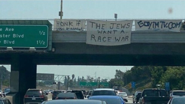Anti-Semitic banners on a Long Angeles freeway on Aug. 22, 2020. Source: Twitter/Rick Hirschhaut.