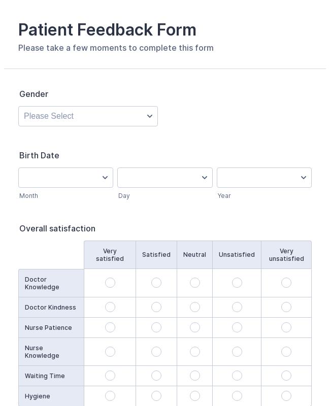 Patient Satisfaction Survey Form Template Jotform