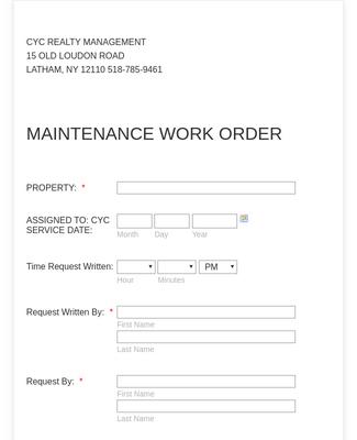Maintenance Work Order Form Template