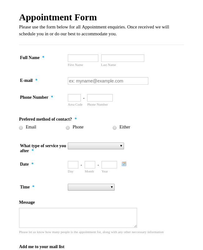 Appointment Request Form Template
