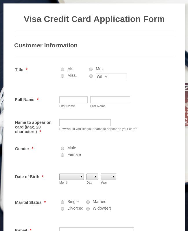 Visa Credit Card Application Form Template Jotform
