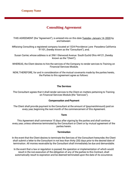 Consulting Agreement Template Pdf Templates Jotform