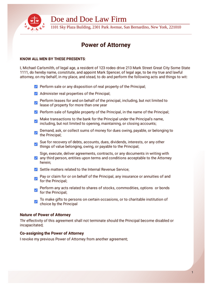 Power Of Attorney Template Pdf