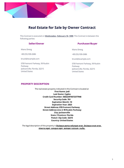 Real Estate For Sale By Owner Contract Template Pdf