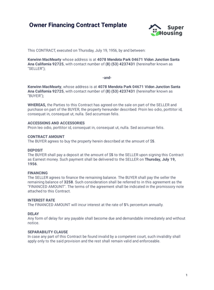 Owner Financing Contract Template Pdf Templates Jotform