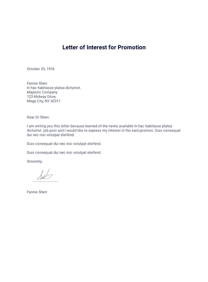 Letter Of Interest For Promotion Pdf Templates Jotform