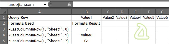Example usage of Excel Function to find the Last Column in a Row