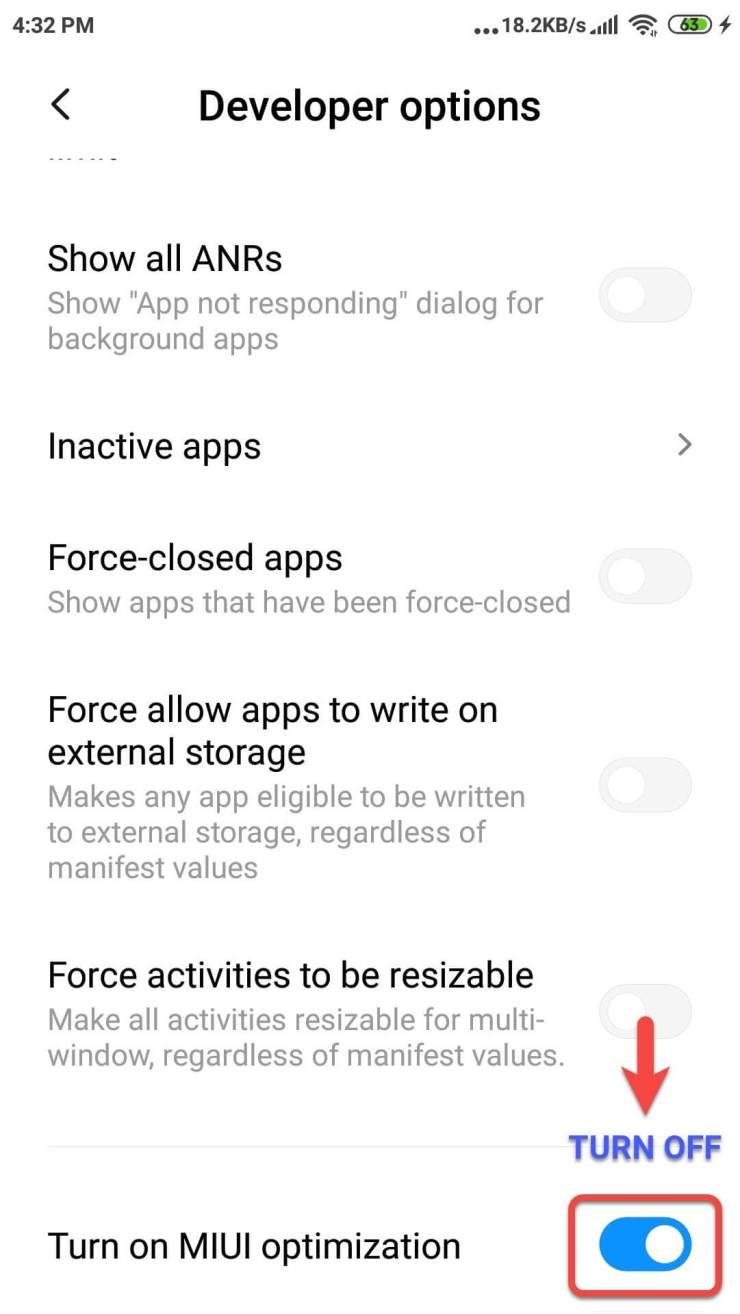 turn off miui optimize (step 4)
