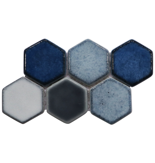 mixed color hexagon recycled glass