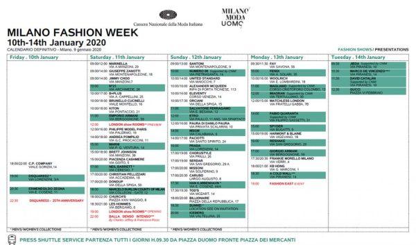 Milano Moda Uomo Autunno/Inverno 2020/2021: calendario, sfilate, eventi