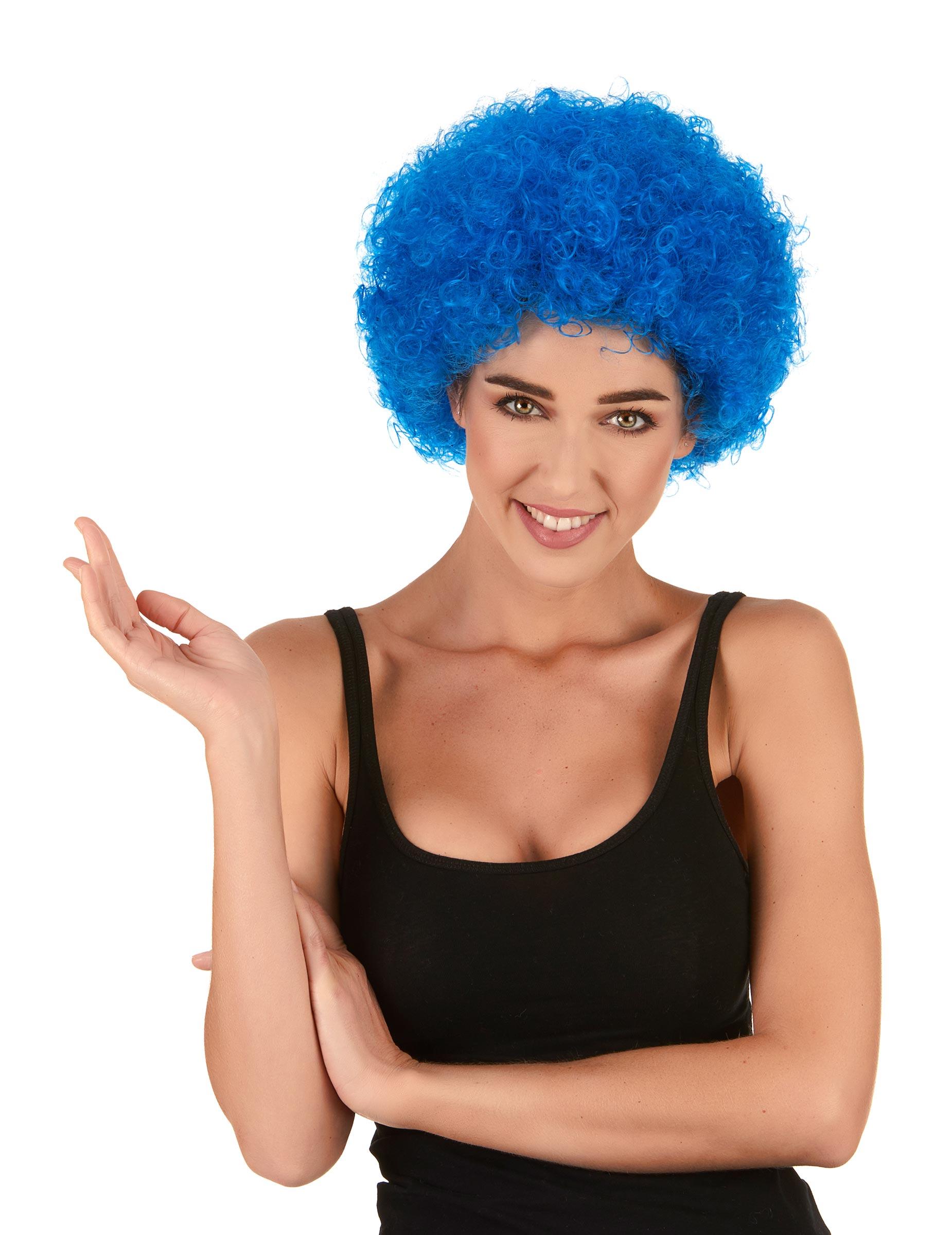 Lustige Clown Afro Percke Blau Gnstige Faschings