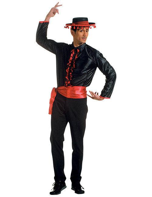 Flamenco Rschen Hemd Spanier Mit Grtel Schwarz Rot