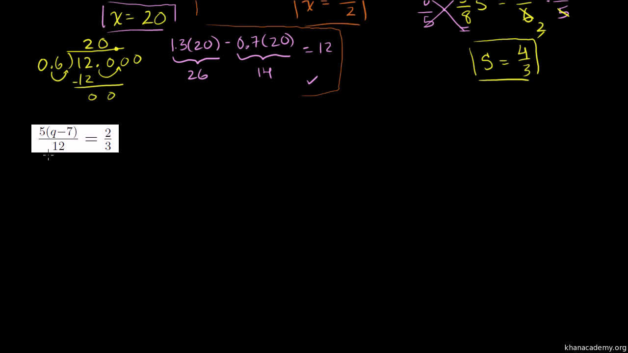 Two step equations   Algebra  practice    Khan Academy