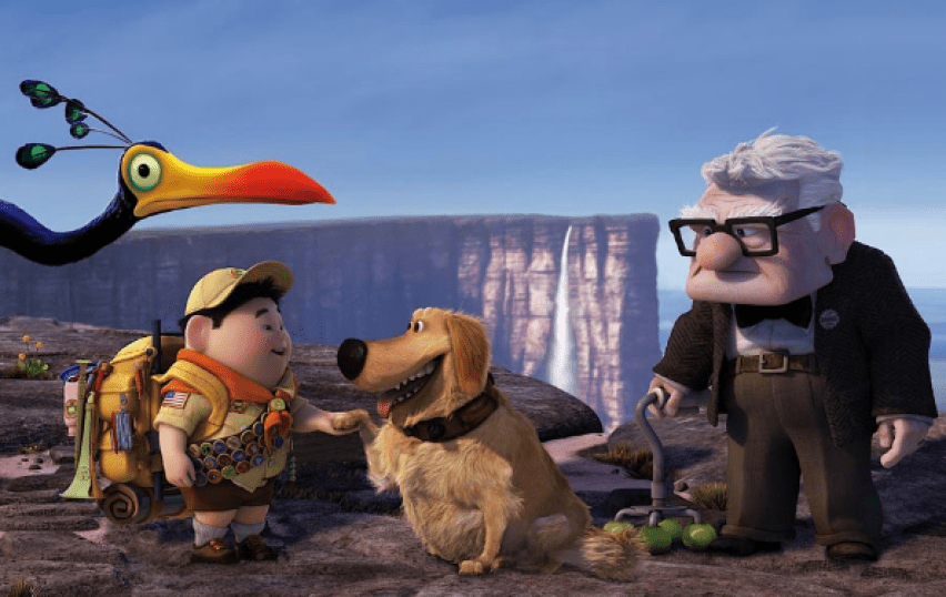"""A scene from the Pixar film """"Up"""" with four characters on a cliff: a bird, a boy, a dog, and an old man."""