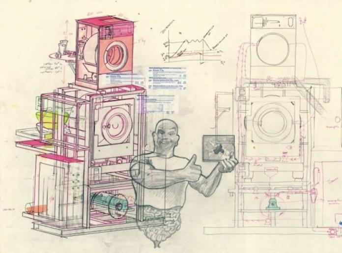 Wim Delvoye, Çalışma # 147, 2004, kağıt üzerine kurşun kalem, renkli kurşun kalem, fosforlu kalem ve çıkartma, 77 x 112 cm