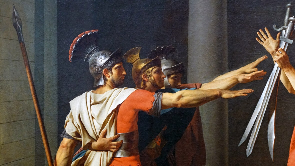 Brothers (detail), Jacques-Louis David, _Oath of the Horatii_, oil on canvas, 3.3 x 4.25m, commissioned by Louis XVI, painted in Rome, exhibited at the salon of 1785 (Musée du Louvre)