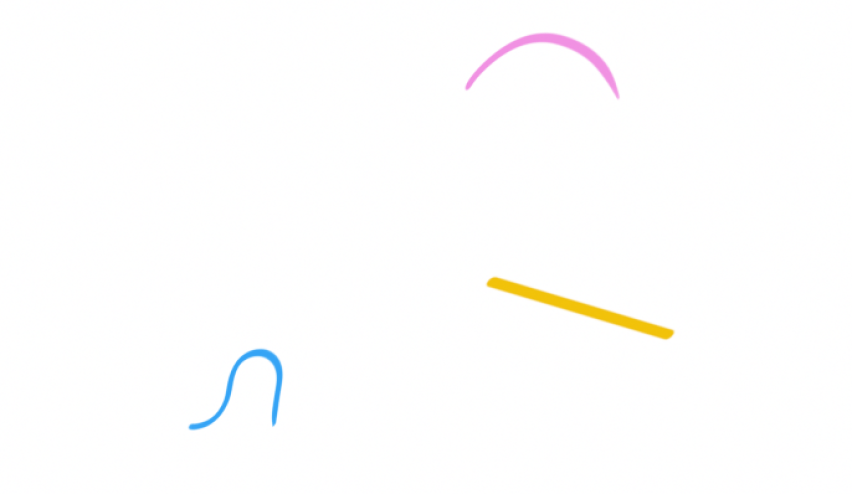 An illustration of three lines: a loopy blue line, a straight thick yellow line, and a pink arc.