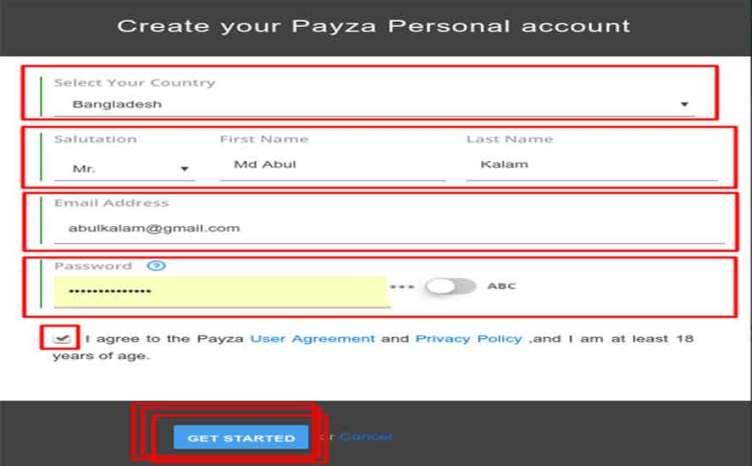 payza form fillup