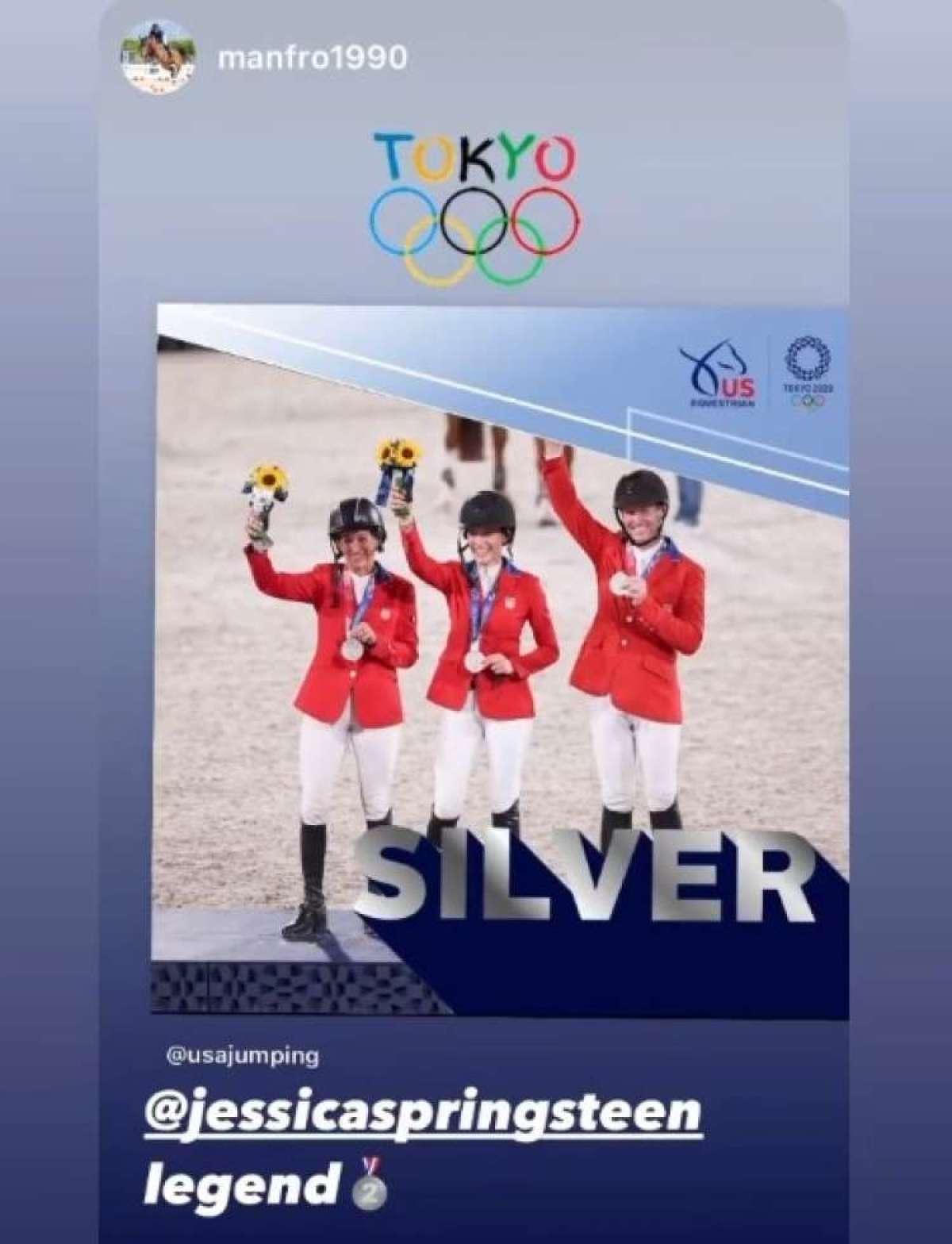 Jessica Springsteen, hčerka legendarnega glasbenika Brucea Springsteena in njen 12-letni žrebec Don Juan van de Donkhoeve sta se na olimpijskih igrah v Tokiu odlično odrezala, na tekmovanju v preskakovanju ovir sta namreč osvojila srebrno medaljo.