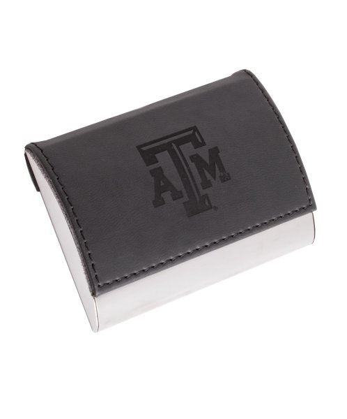 Leather Business Card Holder Black   Aggieland Outfitters This leather accented business card holder is the perfect gift for any  recent Aggie graduate or Aggie business person  It fits 20 standard business  cards