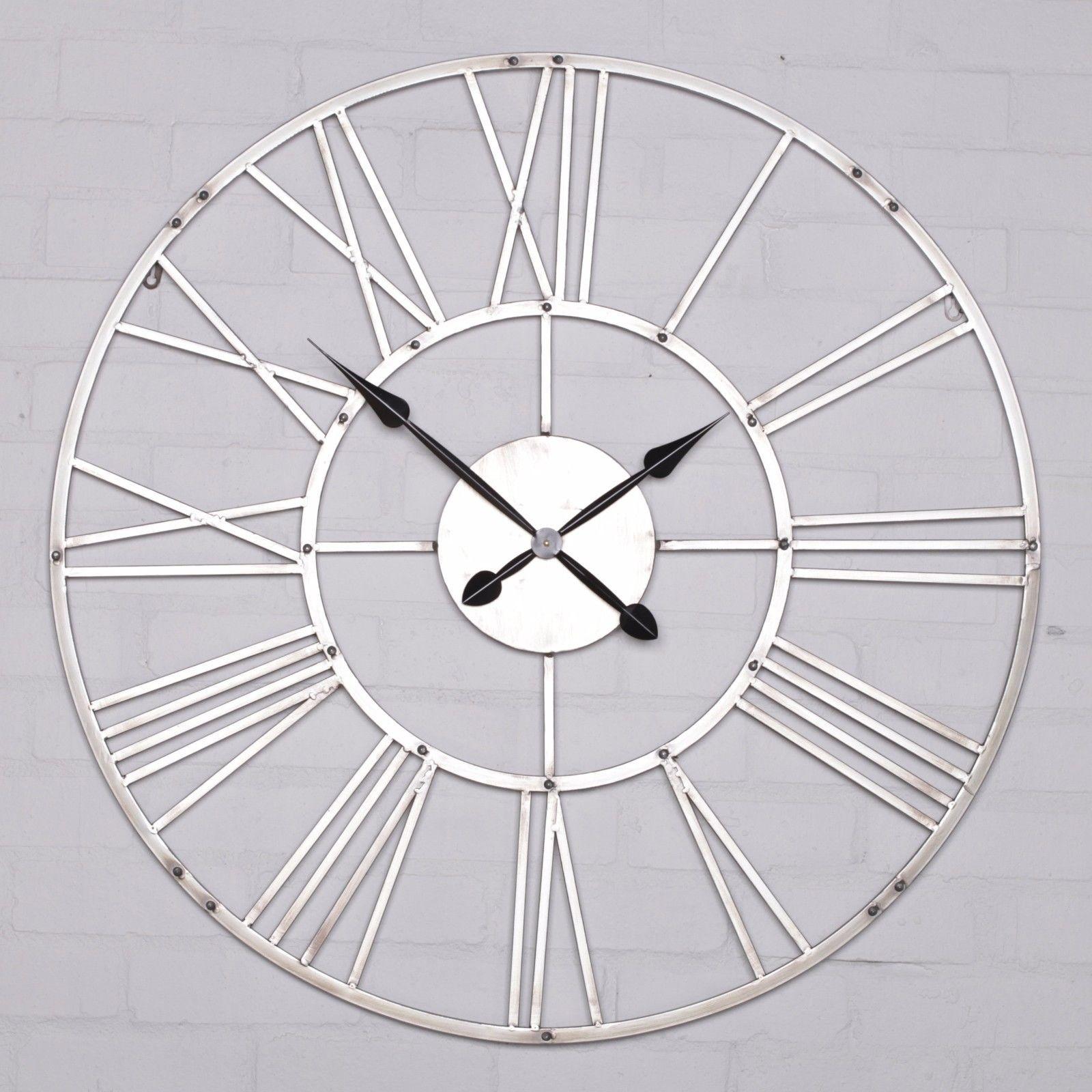 Aged Silver Metal Wall Clock Furniture