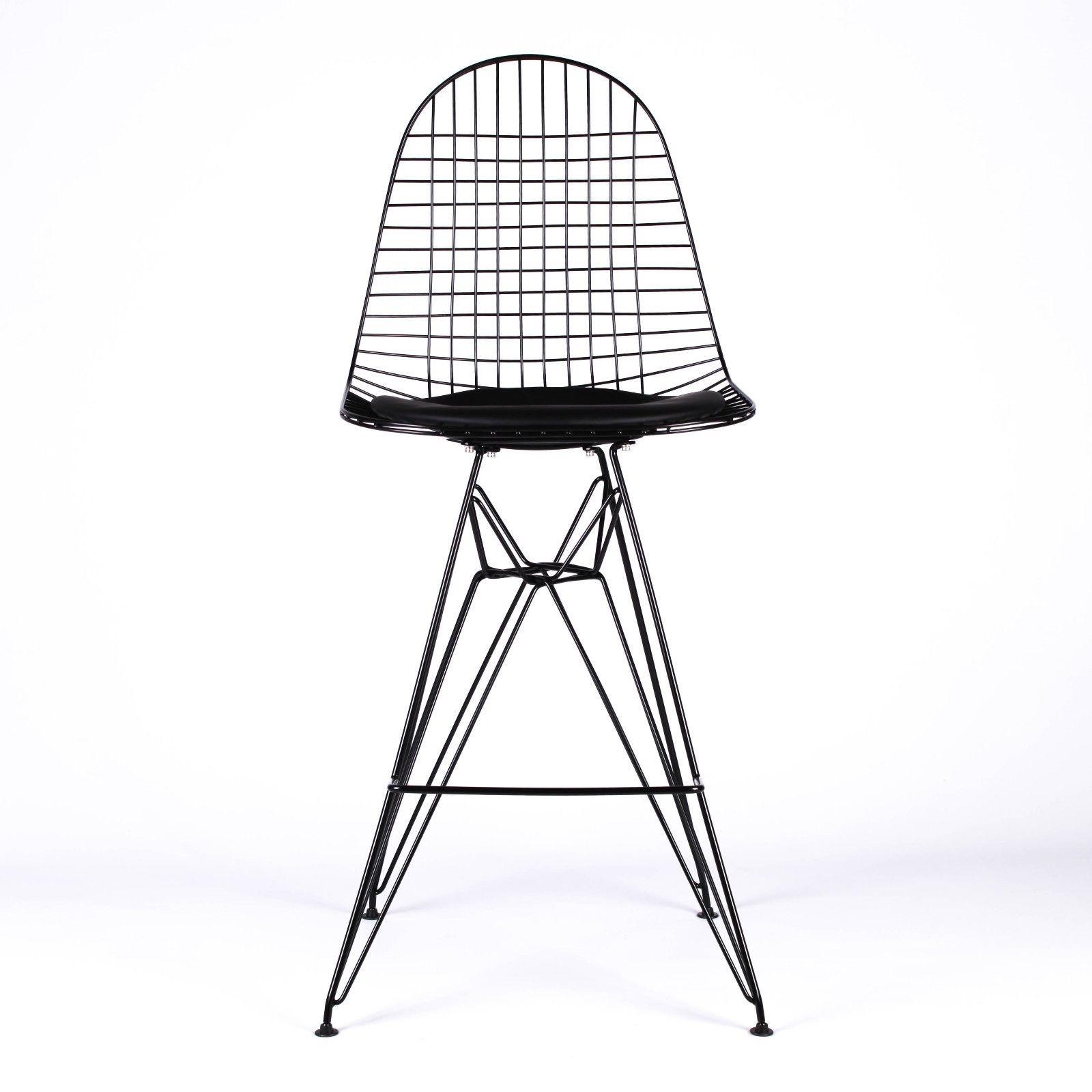 Wire Metal Mesh Black Bar Stool With Seat Pad Furniture