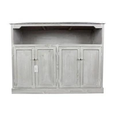 decoration d autrefois meuble bas rangement bois ceruse blanc plateau zinc 119x47x90cm decoration d