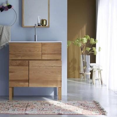 meuble salle de bain en bois de chene et ceramique 80 easy meuble salle de bain