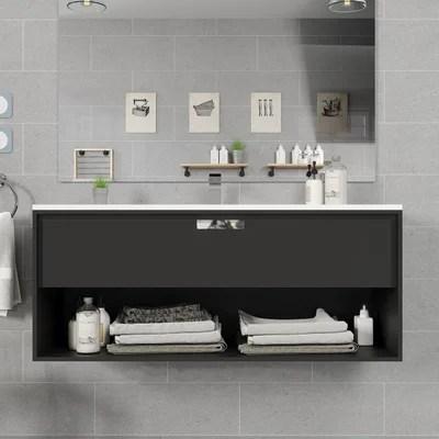 meuble salle de bain noir la redoute