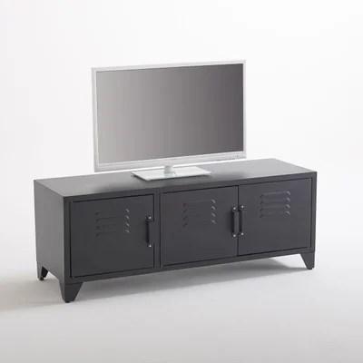 meuble tv style indus 3 portes noir mat hiba meuble tv style indus