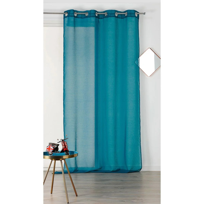 rideaux blanc et bleu turquoise la