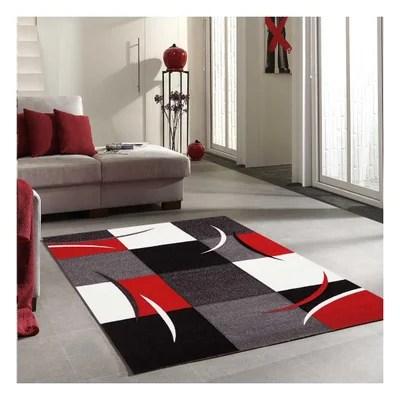 tapis gris et rouge la redoute