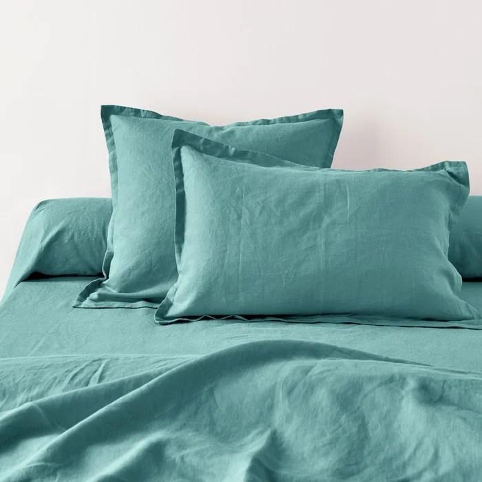 taie d oreiller ou de traversin unie en lin lave