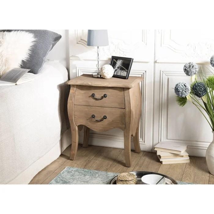 table de chevet bois recycle romantique 2 tiroirs bruges