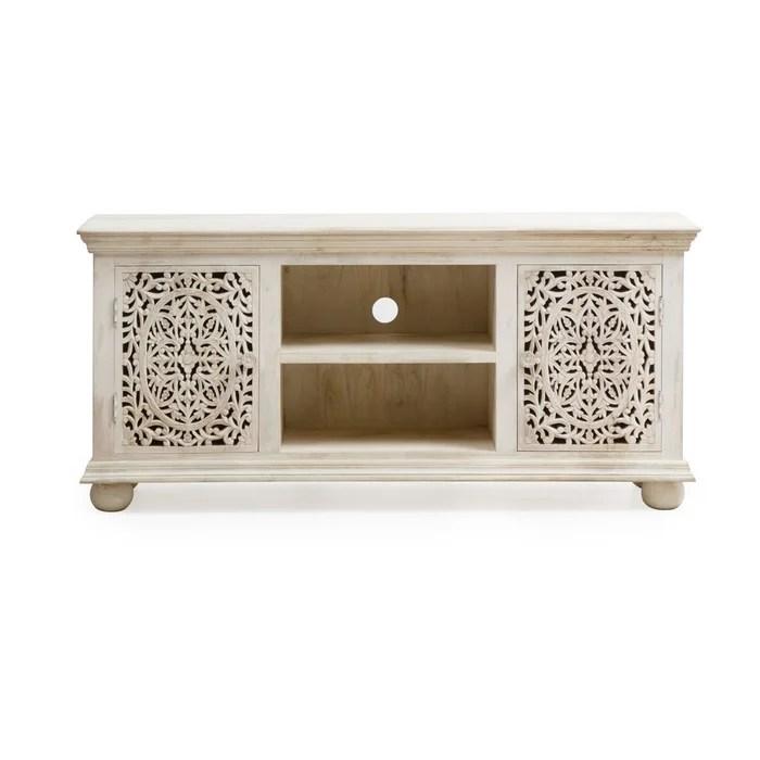 meuble tv sculpte blanchi 2 portes