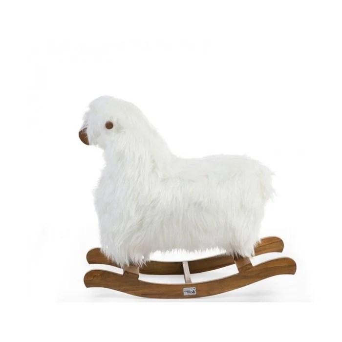 mouton a bascule blanc et teck marron