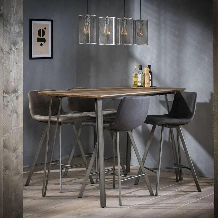 table haute mange debout bois grise et metal style contemporain 140x70cm helsinki