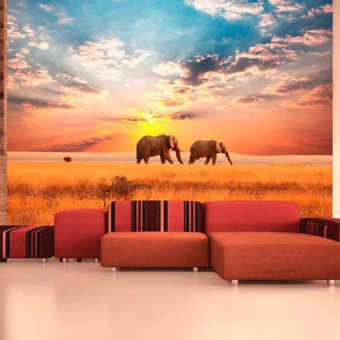 papier peint elephants de savane d afrique