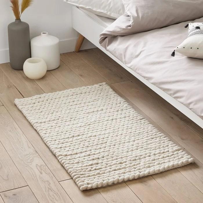 descente de lit diano pure laine effet tricot