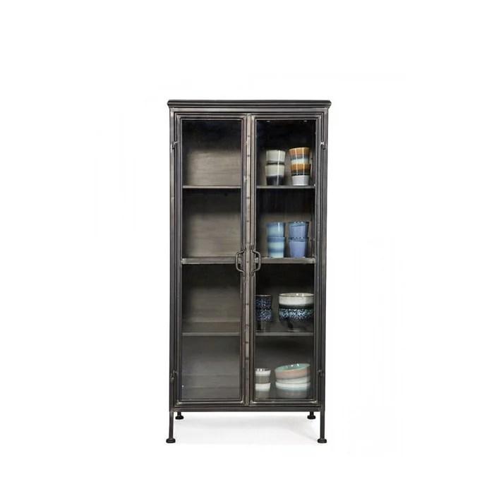 puristic bibliotheque vintage en metal et portes en verre noir woood la redoute